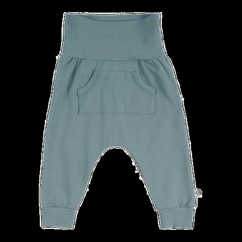Pantaloni cu buzunar central verde prăfuit