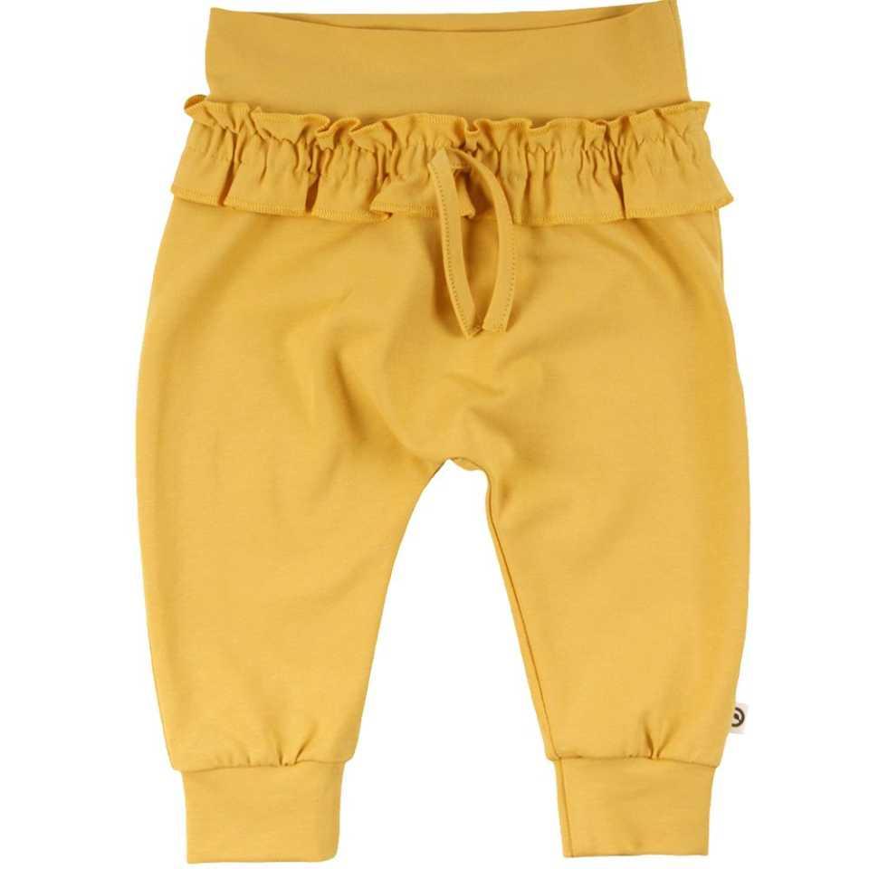Pantaloni galbeni cu volănașe în talie