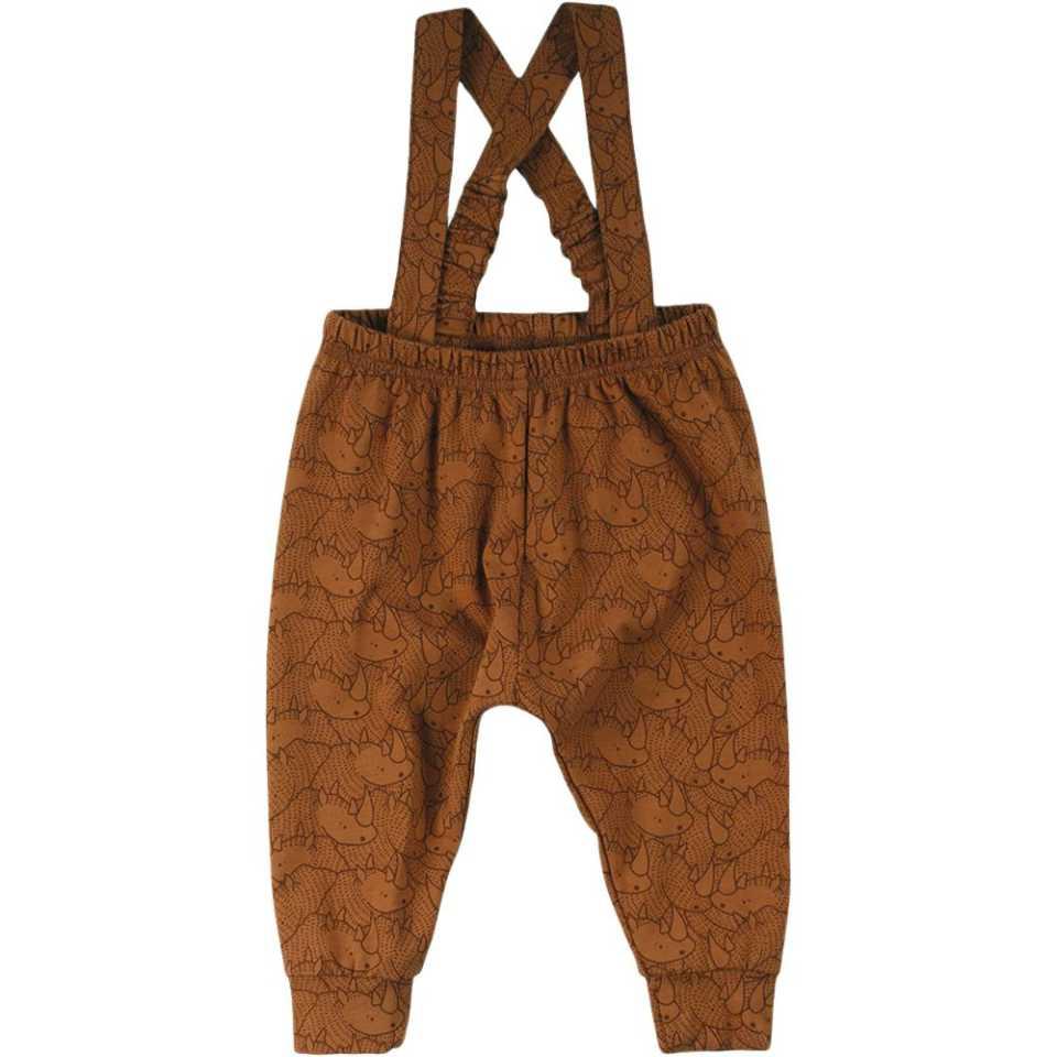 Pantaloni cu bretele și imprimeu cu rinoceri