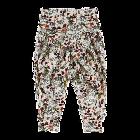 Pantaloni cu pliuri și imprimeu vegetal