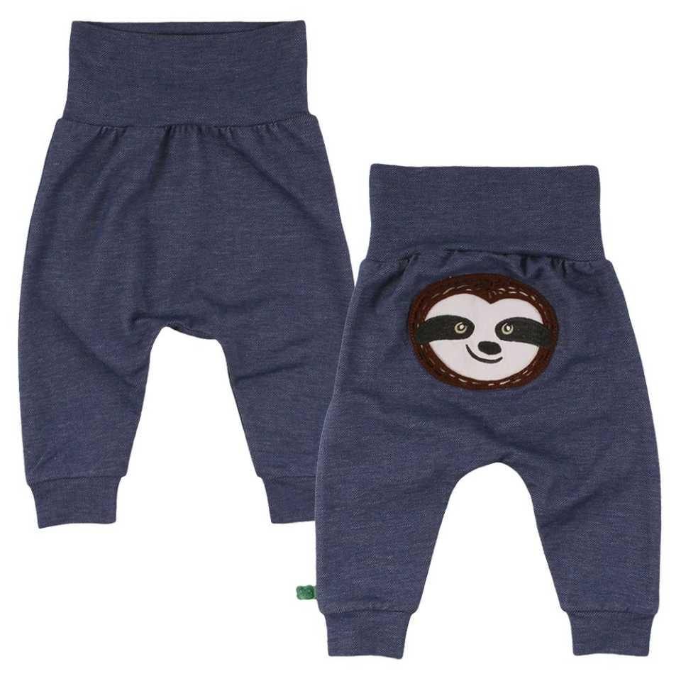 Pantaloni cu aspect denim și imprimeu cusut cu leneș