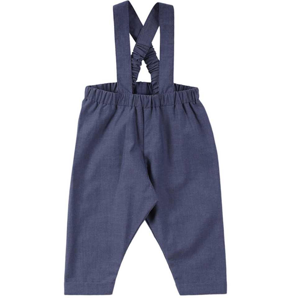 Pantaloni bleumarin cu bretele pentru copii