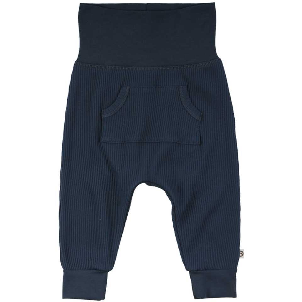 Pantaloni albastru închis cu buzunar central