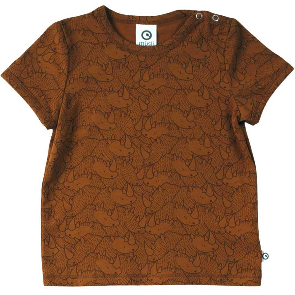 Tricou cu imprimeu rinoceri și capse pe umăr