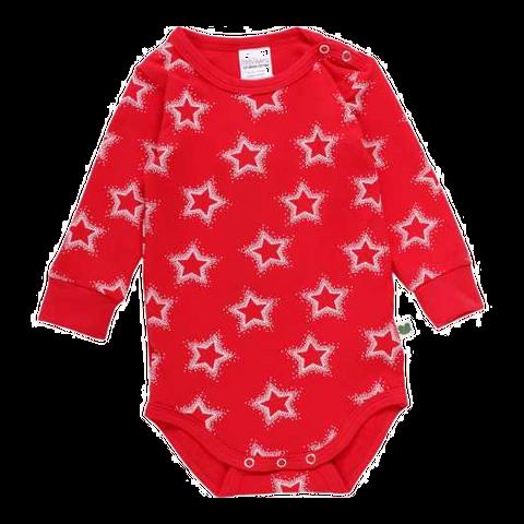 Body roșu cu imprimeu steluțe și mânecă lungă