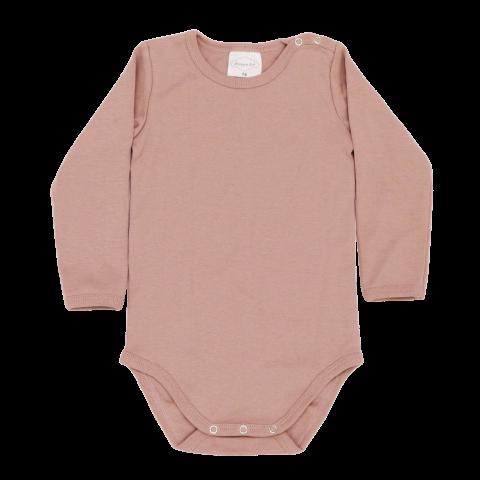 Body din bumbac roz pal cu mânecă lungă