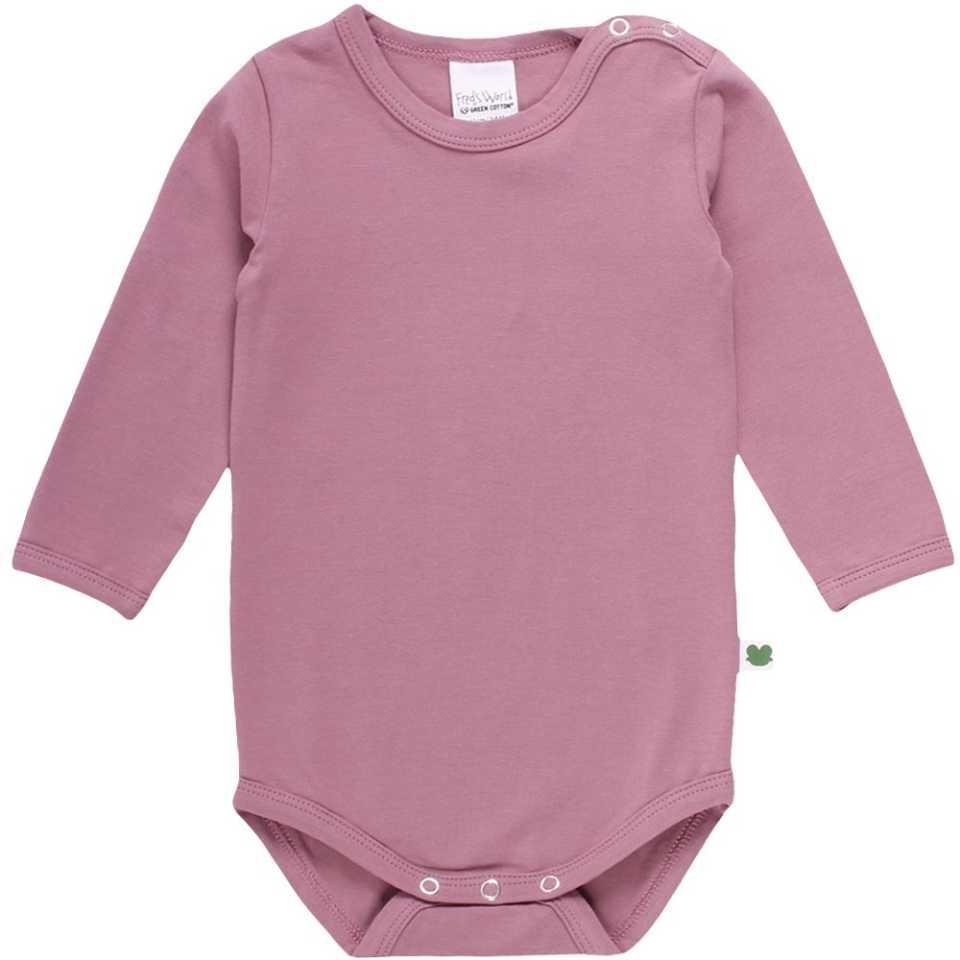 Body roz din bumbac organic cu mânecă lungă