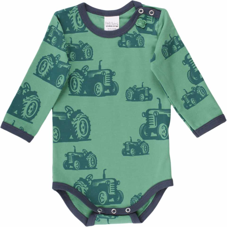 Body verde cu mânecă lungă și imprimeu cu tractorașe