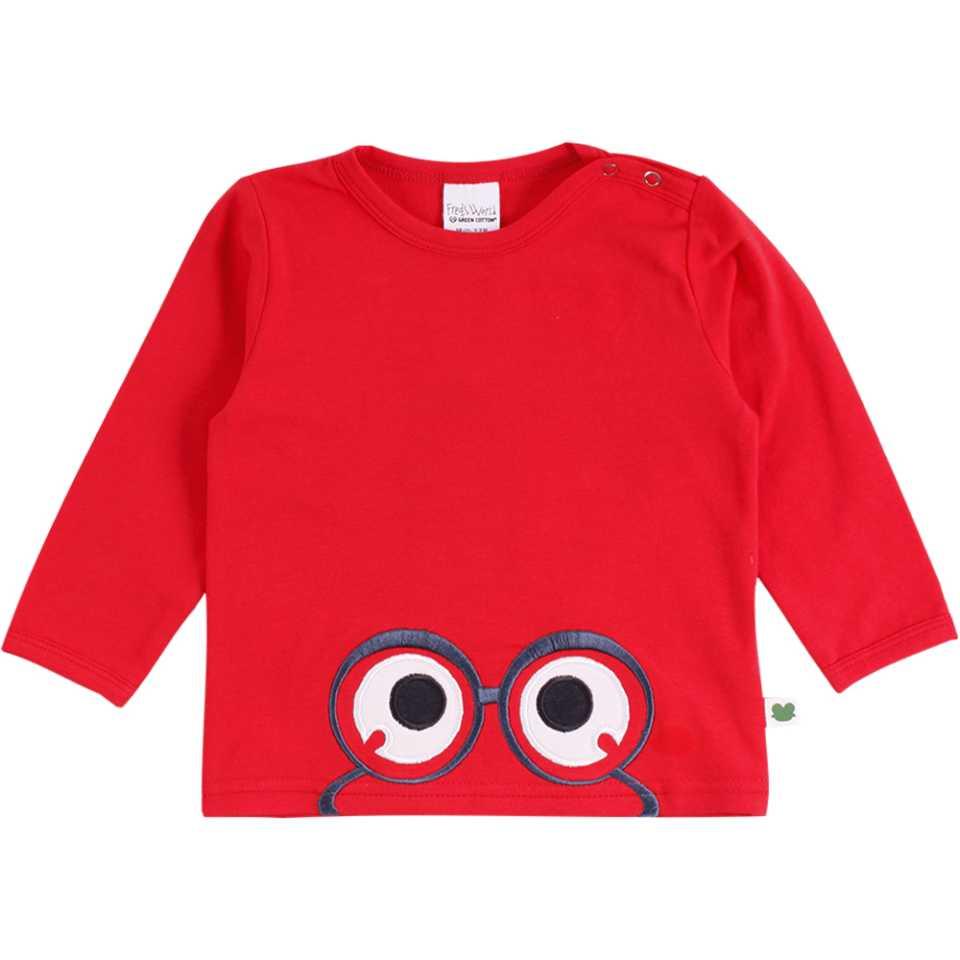 Bluză roșie din bumbac organic cu imprimeu cusut