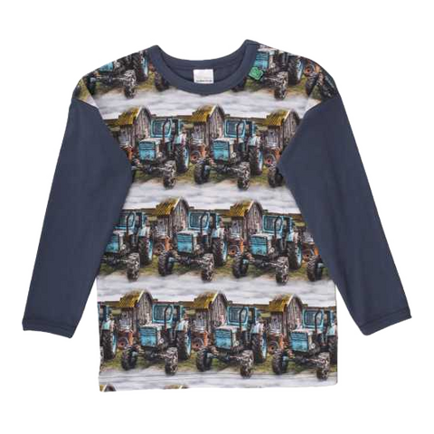 Bluză din bumbac cu imprimeu cu tractoare