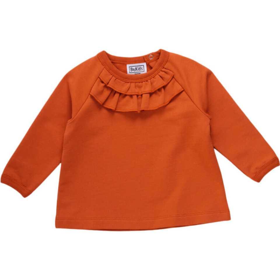 Bluză portocalie din bumbac organic cu volane
