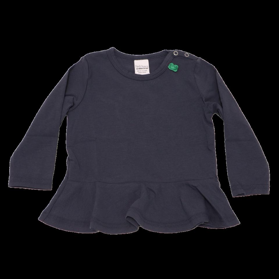 Bluză bleumarin din bumbac cu peplum