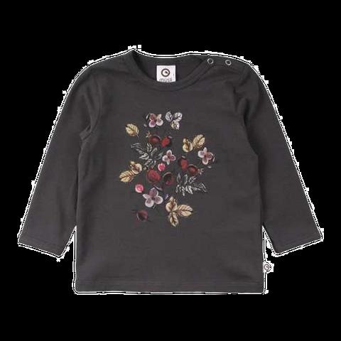 Bluză gri antracit cu imprimeu floral