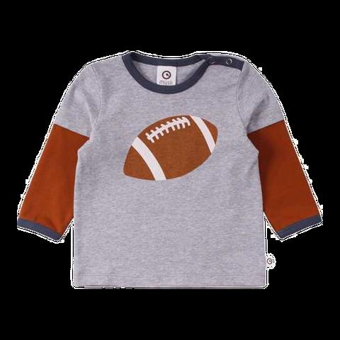 Bluză cu mâneci contrastante și imprimeu minge de rugby