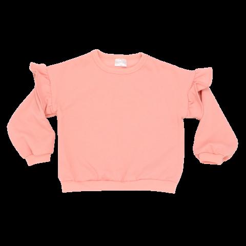Bluză roz cu mânecă lungă și volane la umeri