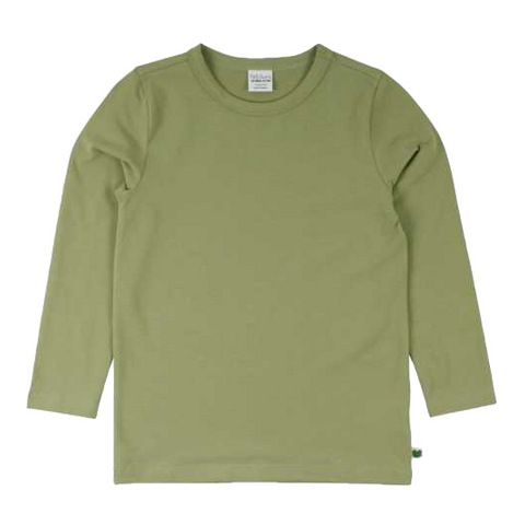 Bluză uni verde salvie din bumbac organic
