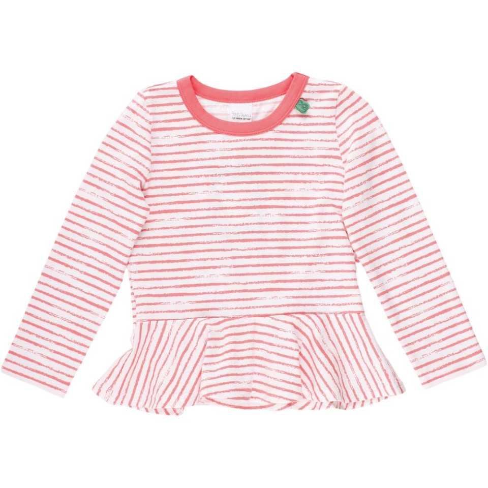 Bluză cu dungi corai și peplum