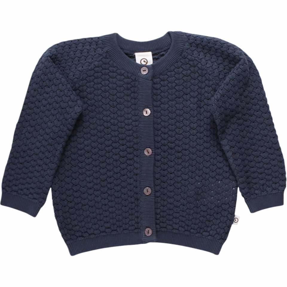 Cardigan uni bleumarin tricotat