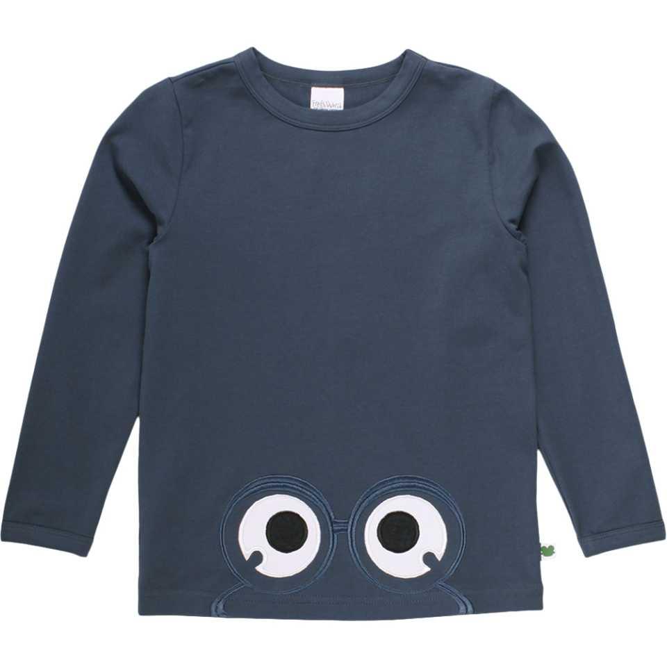 Bluză Alfa bleumarin cu mânecă lungă și imprimeu cusut