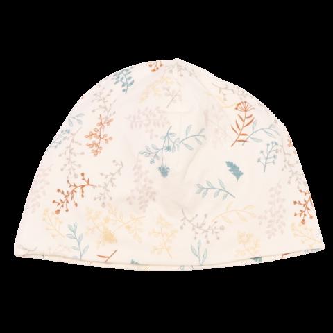 Căciulă alb unt din bumbac organic cu imprimeu floral