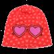 Căciulă roșie cu inimioare și imprimeu cusut cu ochelari
