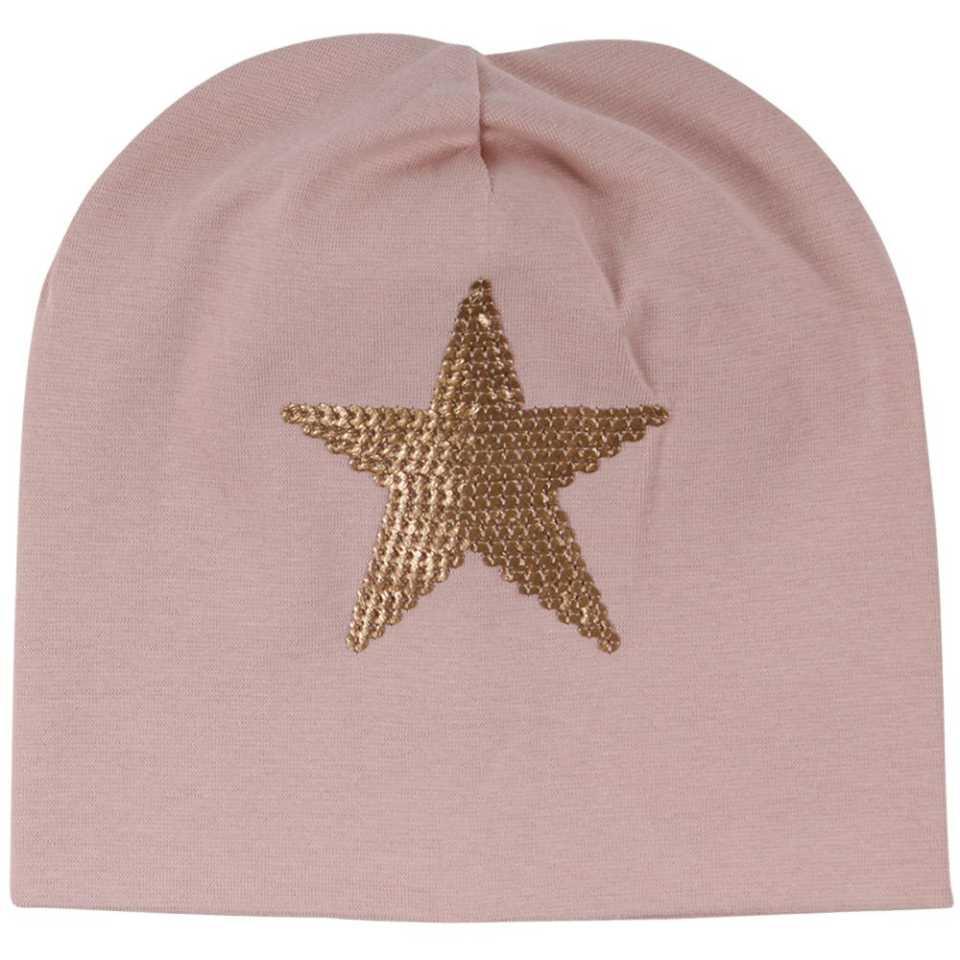 Căciulă roz cu imprimeu cu steluță
