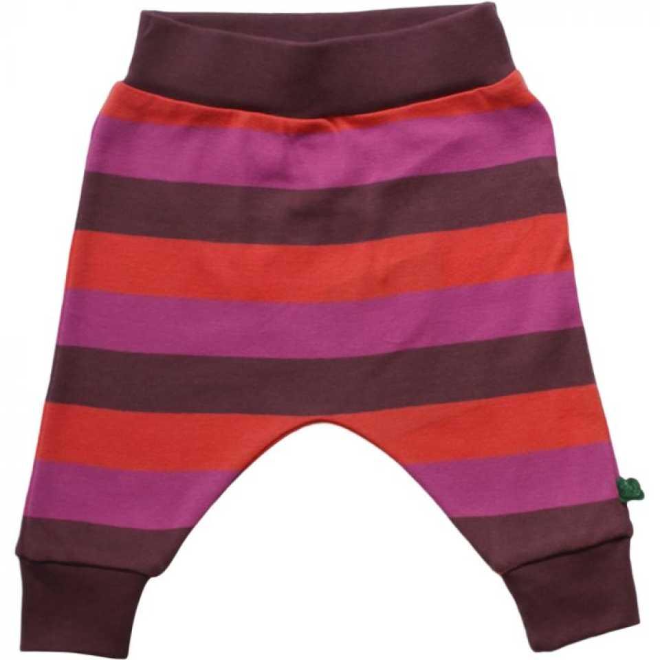 Pantaloni mov prună cu dungi corai și violet