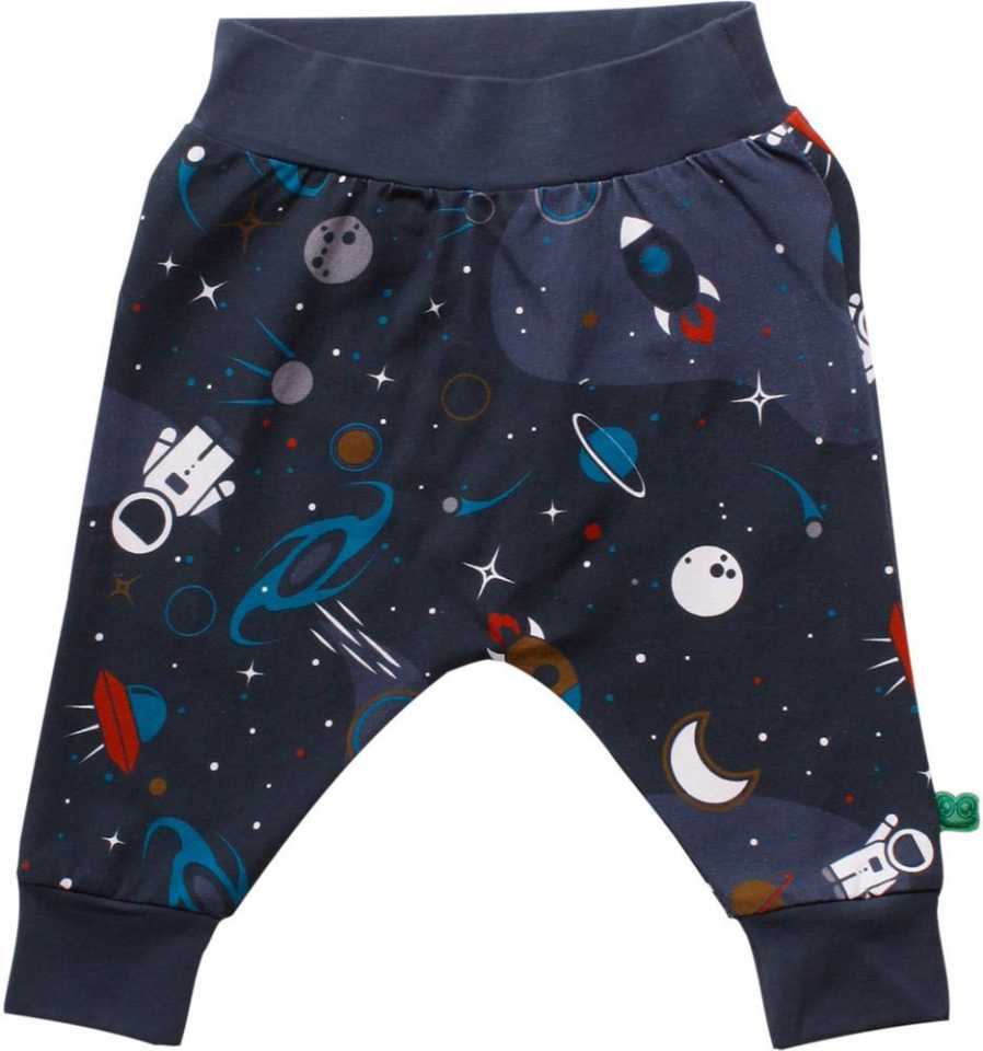 Pantaloni bleumarin cu imprimeu spațial
