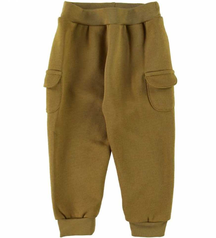 Pantaloni olive din bumbac cu buzunare laterale