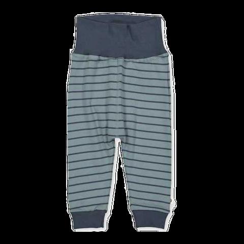 Pantaloni cu dungi bleumarin din bumbac organic