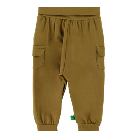 Pantaloni Alfa olive cu buzunare laterale