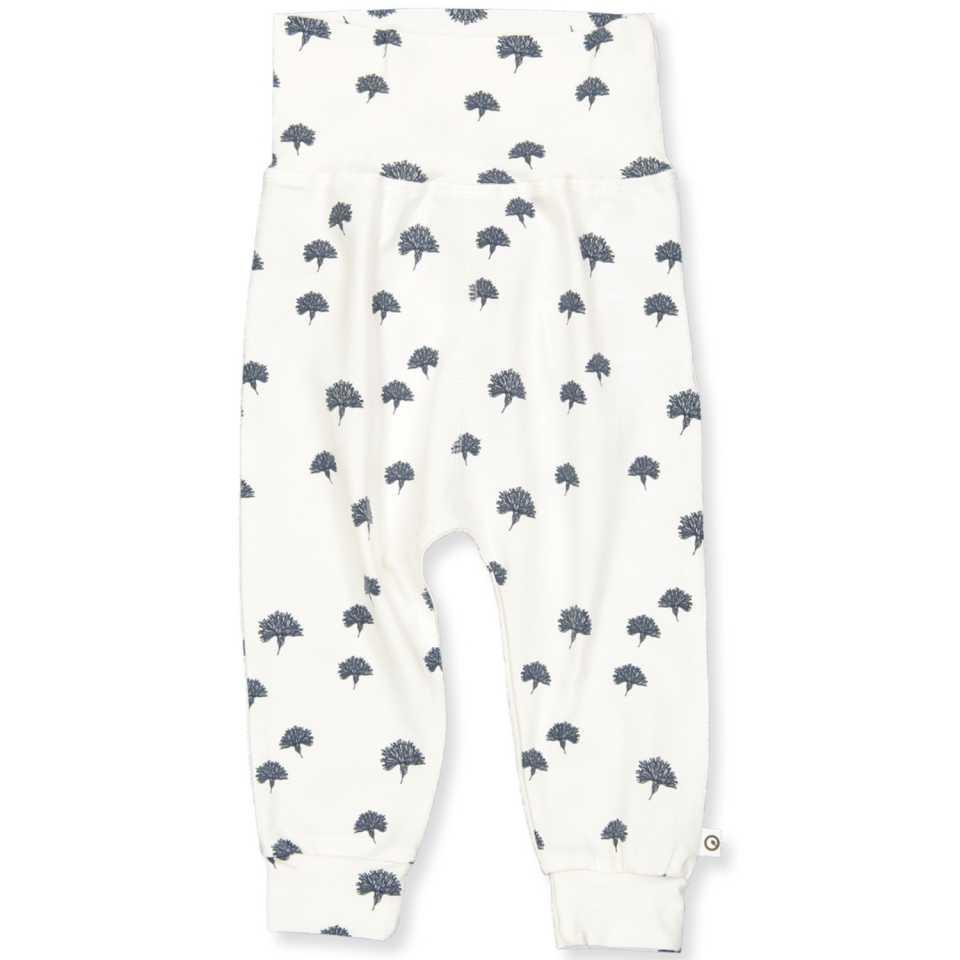 Pantaloni albi cu imprimeu păpădii