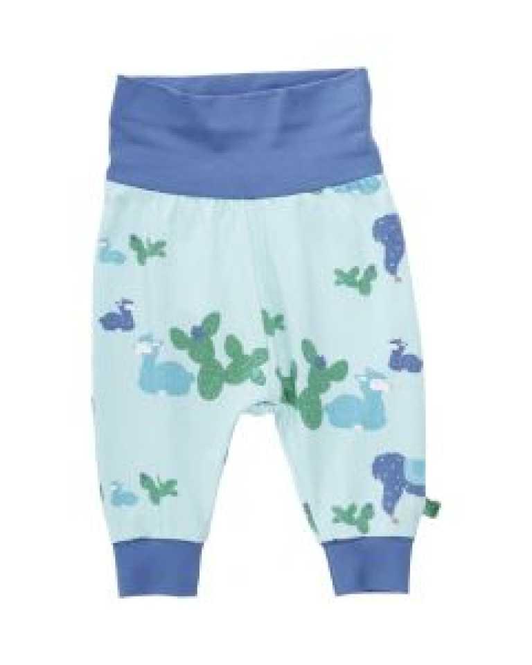 Pantaloni bleu ciel cu imprimeu lame