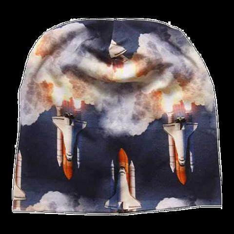Căciulă bleumarin cu imprimeu rachete spațiale