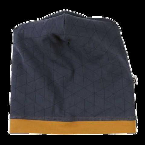 Căciulă cu imprimeu geometric și bandă maro