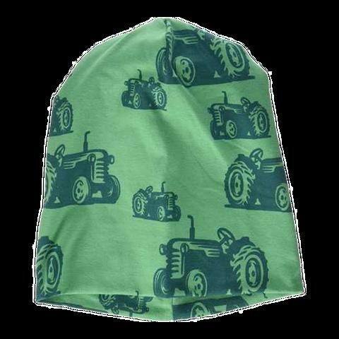 Căciulă verde din bumbac cu imprimeu tractorașe