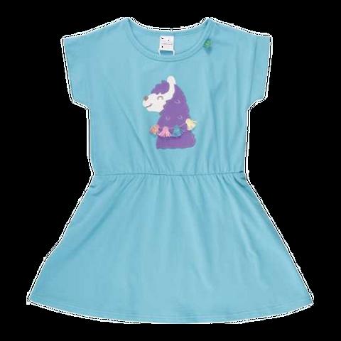 Rochiță turcoaz cu imprimeu lamă