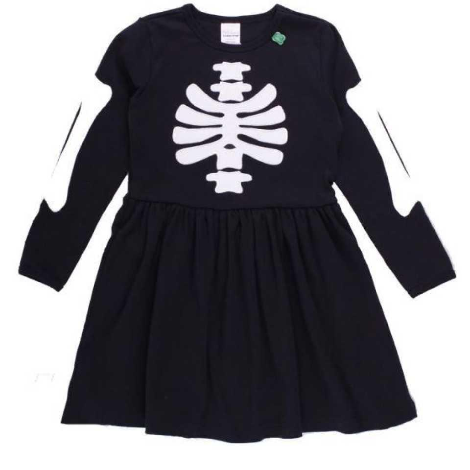 Rochiță neagră cu mânecă lungă și imprimeu schelet