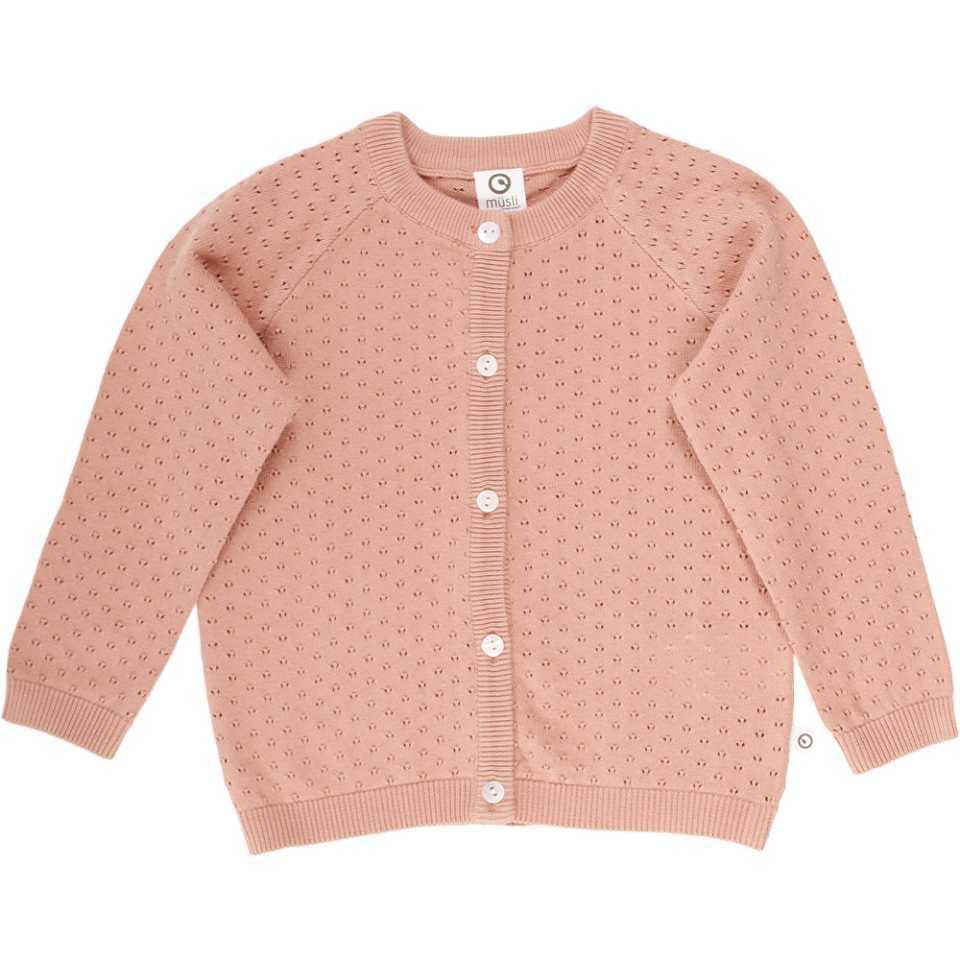 Cardigan roz pudrat tricotat din bumbac organic