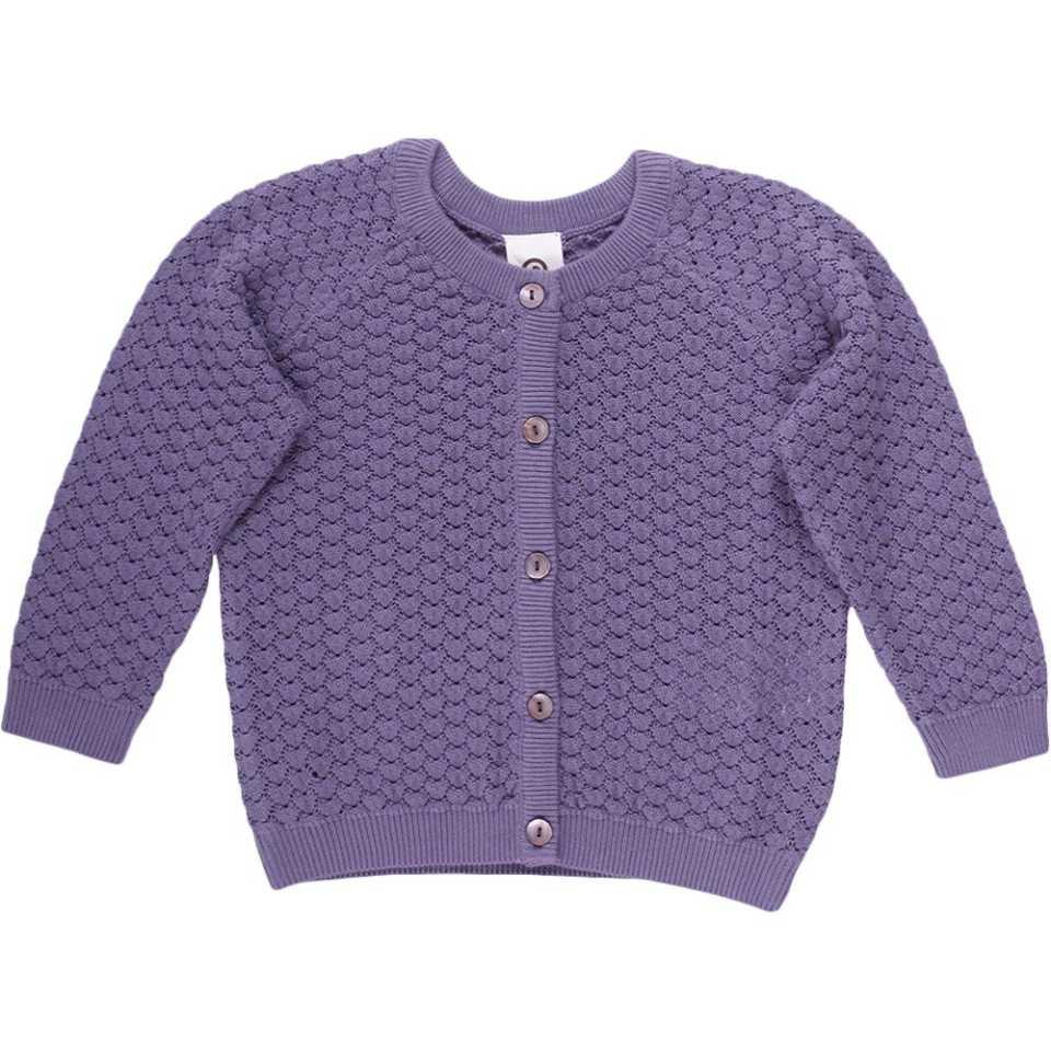 Cardigan mov tricotat cu mânecă lungă