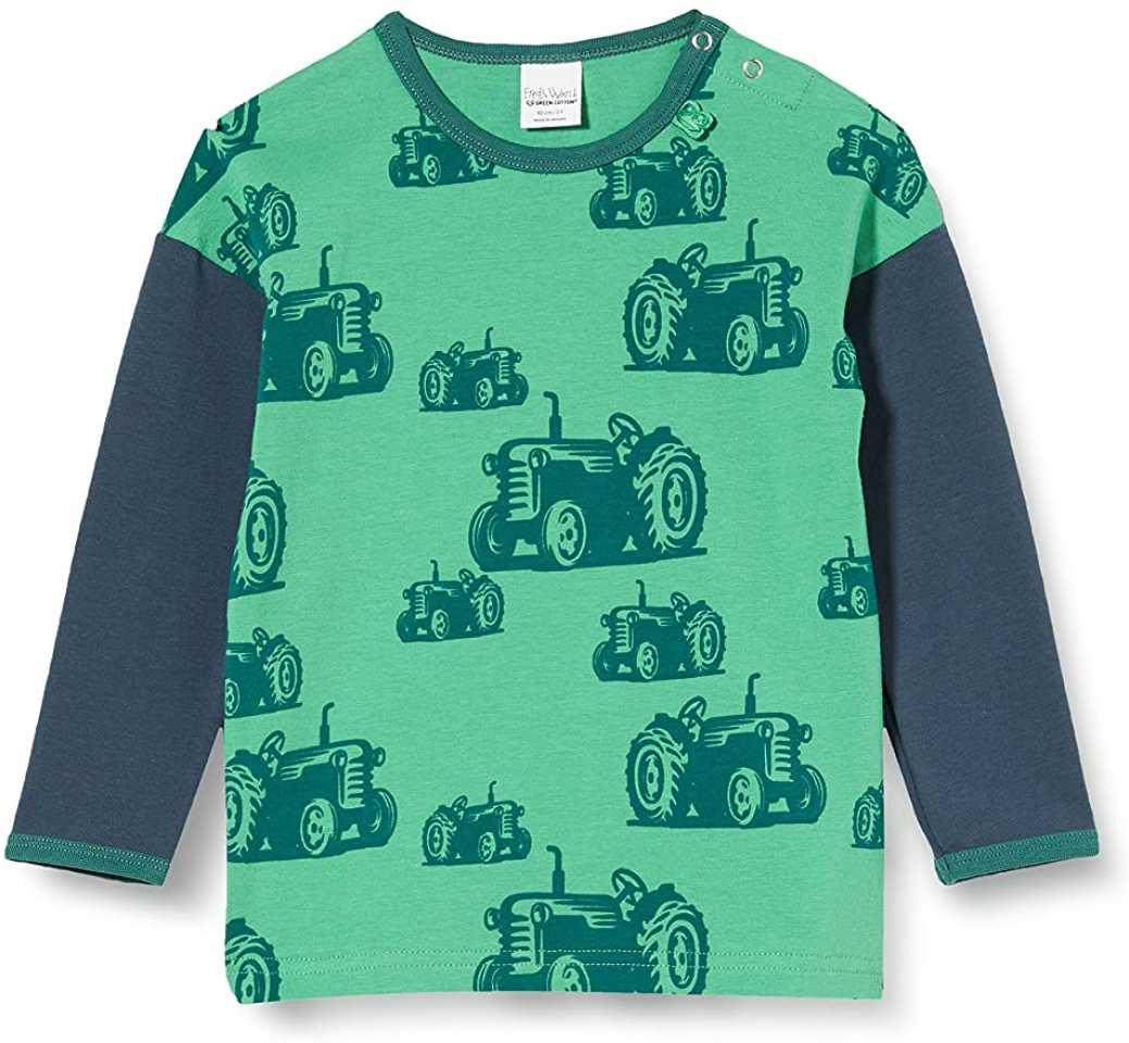 Bluză verde cu imprimeu tractorașe și mâneci contrastante