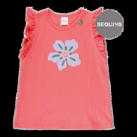 Tricou corai cu aplicație floare Aloha