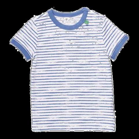Tricou alb cu dungi albastre
