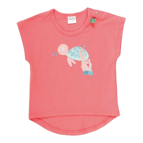 Tricou corai cu imprimeu cusut țestoasă