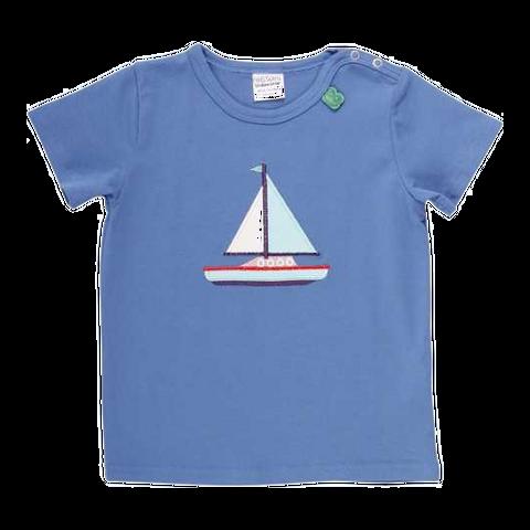 Tricou albastru cu imprimeu cusut