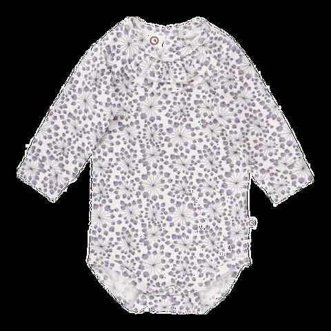 Body alb din bumbac organic cu imprimeu floral și volane
