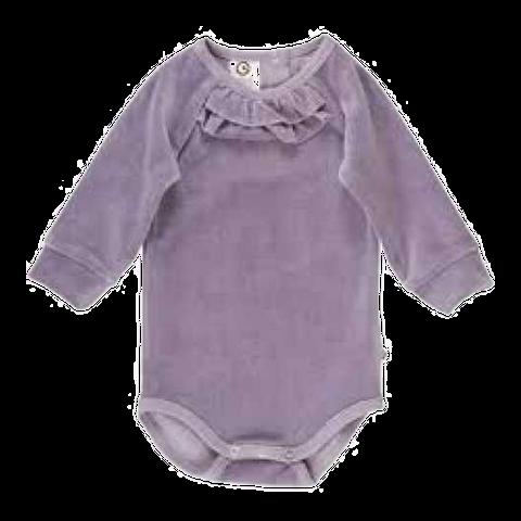 Body lila din catifea pentru bebeluși