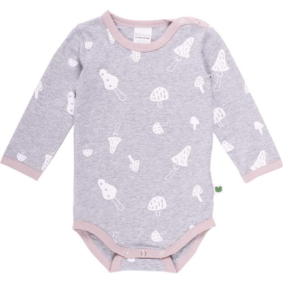 Body gri deschis cu imprimeu ciupercuțe pentru bebeluși