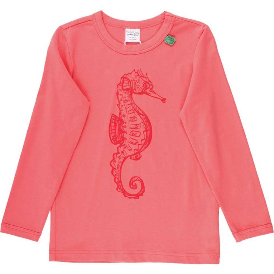 Bluză corai cu mânecă lungă și imprimeu căluț de mare